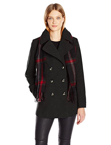 (London Fog Women's Double Breasted Peacoat with Scarf, Charcoal,)
