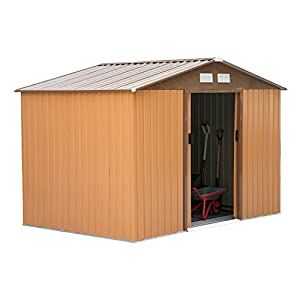 Outsunny 9 x 6 Metal Shed with Floor Khaki