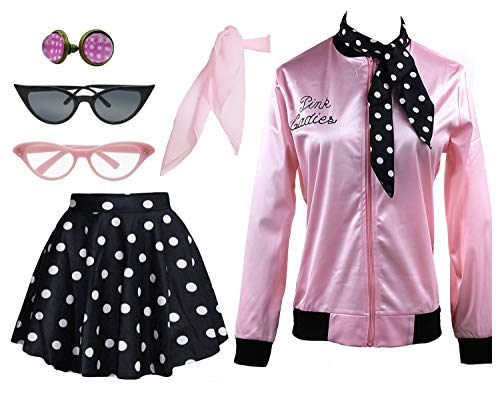 1950s Pink Ladies Satin Jacket T Bird Women Danny Halloween Costume Outfit (Black, X-Small)]()