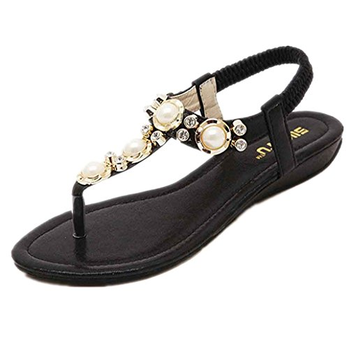 Clode® 1 Pair Women Sandals Fashion Crystal Sandals T-Strap Slipper Summer Shoes Casual Sandals Black 5NKC4Jdi