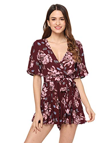 SheIn Women's V Neck Floral Print Tie Waist Short Romper Jumpsuit X-Large #Burgundy - Print Romper