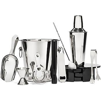 Premium 10 Piece Cocktail Shaker / Martini Bartender Kit   Stainless Steel Bar Tool Gift Set - w/ Ice Bucket & Tongs, Rotating Glass Rimmer, Double Measuring Jigger, Muddler, Bottle Opener & Mix Spoon