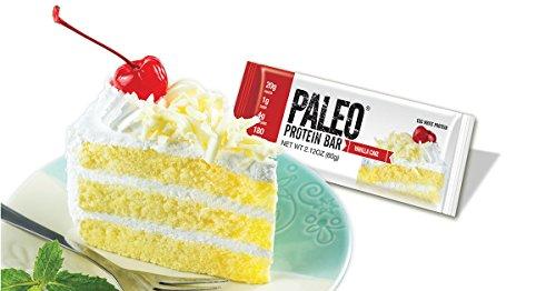 Paleo Protein Bar® (Vanilla Cake) 12 Bars (180 Cal 20g Egg White Protein 4 Net Carbs w/Probiotics)