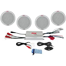 "Pyle Marine Receiver Speaker Kit - 4-Channel Amplifier w/ 6.5"" Speakers (4) Waterproof Poly Bag 3.5mm Jack RCA Adaptor for MP3/iPod & Volume Gain Remote Control & Power Protection Circuitry - PLMRKT4A"
