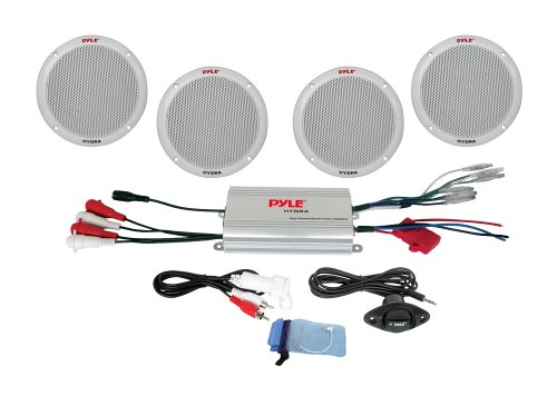 "Pyle Marine Receiver Speaker Kit - 4-Channel Amplifier w/ 6.5"" Speakers (4) Waterproof Poly Bag 3.5mm Jack RCA Adaptor for MP3/iPod & Volume Gain Remote Control & Power Protection Circuitry - PLMRKT4A - Watt Powered Amplifier"