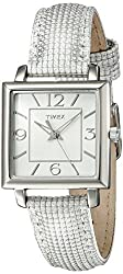 Timex Women's T2P378 Elevated Classics Rectangle White Metallic Leather Strap Watch