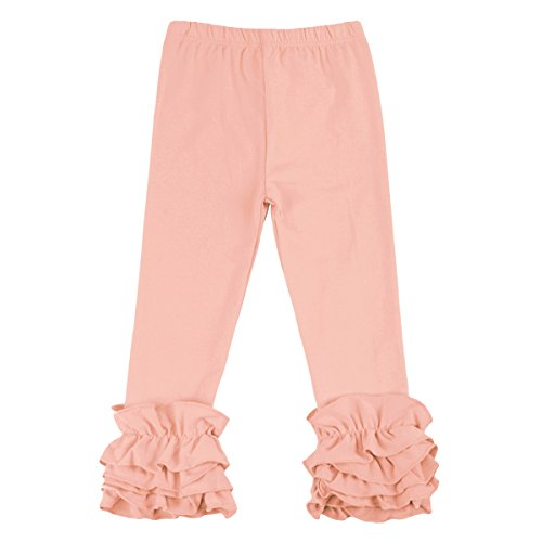 Toddler Baby Girl Ruffle Legging Pant Halloween Christmas Boutique Cotton Long Stripe Flower Trouser with Flare Ruffle Peach 12-18 -