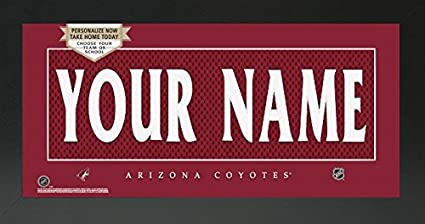 4513f928f Image Unavailable. Image not available for. Color  Arizona Coyotes NHL Custom  Jersey Nameplate Framed Sign