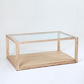 Habitmobel Couchtisch 110 Glas Holz Weiss Velado Exklusives Produkt