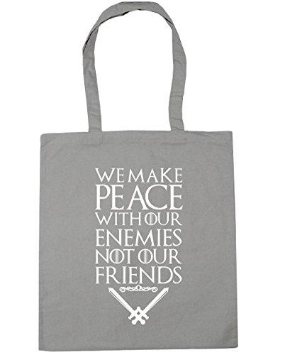 HippoWarehouse Wir Machen Frieden Mit Unserer Feinde Nicht Unser Freunde Spruch Einkaufstasche Fitnessstudio Strandtasche 42cm x38cm, 10 liter - Hellgrau, One size