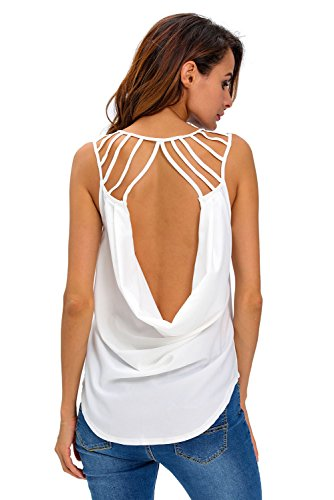 OUR WINGS Women White Cut out Draped Back Clubwear Top M