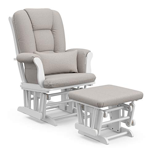 Storkcraft Tuscany Custom Glider and Ottoman with Free Lumbar Pillow, White/Taupe Swirl ()