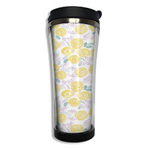 Stainless Steel Insulated Coffee Travel Mug,Spill Proof Flip Lid Insulated Coffee cup Keeps Hot or Cold 8.45 OZ(250 ml)Customizable printing byWatercolor Flower,Roses and Cute Little Flowers in ()