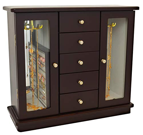 (Lacuna Boutique Deluxe Wooden Jewelry Box - Fashionable Jewel Case Cabinet - Ring, Earring, Necklace Jewelry Organizer - 11.8 x 4.7 x 11.8 Inches - Dark Brown)