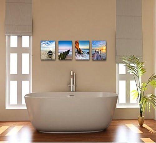 Wieco Art spiaggia per le pareti del soggiorno o della camera da letto mare stampa gicl/é/é Con foto delloceano moderne stampe su tela incorniciate Decorazioni per la casa 4/pezzi