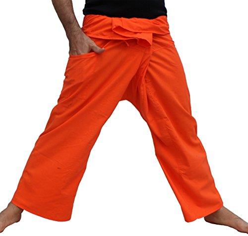Orange Fisherman Pants - Raan Pah Muang RaanPahMuang Brand Tough Thin Cotton Thai Fisherman Wrap Pants Tall, X-Large, Orange
