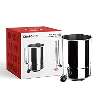 ChefGiant 5 Cup Flour Sifter Rotary Hand Crank Stainless Steel 16 Fine Mesh Screen, Corrosion Resistant Baking Sieve Cup