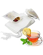 100 Pieces Disposable Tea Filter Bags Large Size 3.5 x 2.7 Disposable Tea Infusers Safe & Natural Bags with Drawstring White for Loose Leaf Tea…