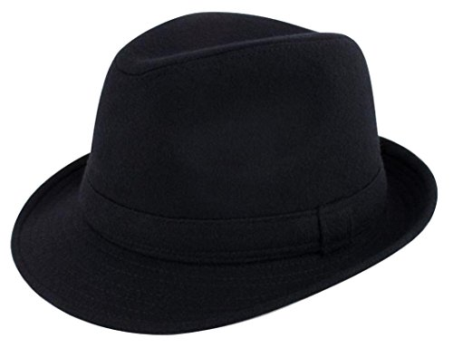 (Lullaby Mens Womens Short Brim Manhattan Gangster Trilby Fedora Hat)