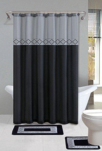 High Quality Gray Black Contemporary Bath Shower Curtain 15 Pcs Modern Bathroom Rug Mat Contour