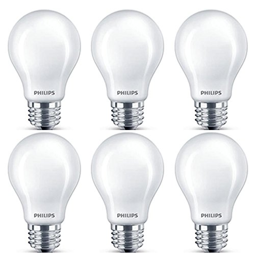 Philips LED Classic Glass Non-Dimmable A19 Light Bulb: 800-Lumen, 5000-Kelvin, 7-Watt (60-Watt Equivalent), E26 Base, Daylight, Frosted, 6-Pack