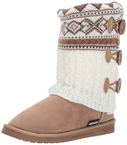 MUK LUKS Women's Cheryl Boots Fashion, Camel geo Cable, 7 M US