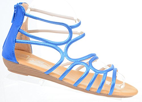 Gladiator Back Wedge Fourever Metallic Blue Zip Womens Strappy Funky Sandals Gladiator SpZqxF