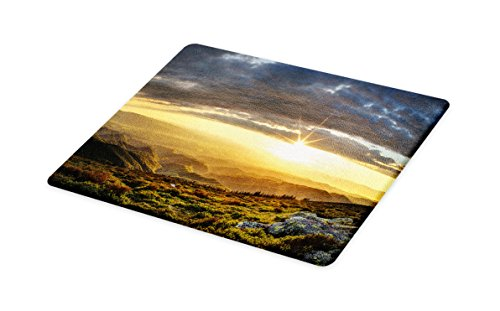 Lunarable Landscape Cutting Board, Majestic Sunset over Little Mountain Peak Cloudy Sky Rural Meadow Morning, Decorative Tempered Glass Cutting and Serving Board, Large Size, Yellow Green Grey