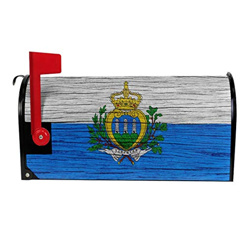 San Marino Wooden Texture San Marinas Flag Decoration Mailbox Cover Outdoor Themed Printed Products Cover Magnetic Post Box 21