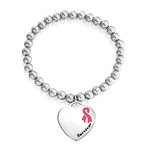 Bling Jewelry Pink Enamel Survivor Heart Medical ID Stretch Bracelet Steel