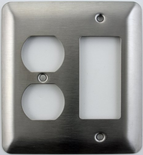 (Mulberry Princess Style Satin Stainless Steel 2 Gang Switch Plate - 1 Duplex Outlet Opening 1 GFI/Rocker Opening )