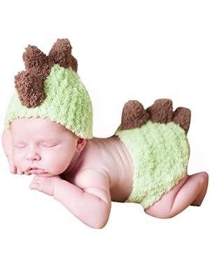 Melondipity Baby Boy Dinosaur Hat, Diaper Cover Set - Handmade Green Beanie (Newborn)