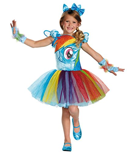 Pony Costumes For Kids (Disguise Hasbro's My Little Pony Rainbow Dash Tutu Prestige Girls Costume, X-Small/3T-4T)