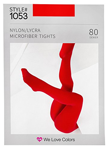 Soft and Opaque Microfiber Tights - Scarlet Red - (Soft Opaque Tights)