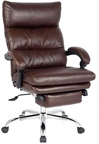 Reclining Office Chair High Back Executive Chair with Any Angle Recline Lock System Napping Chair with Footrest Bonded Leather(Brown)