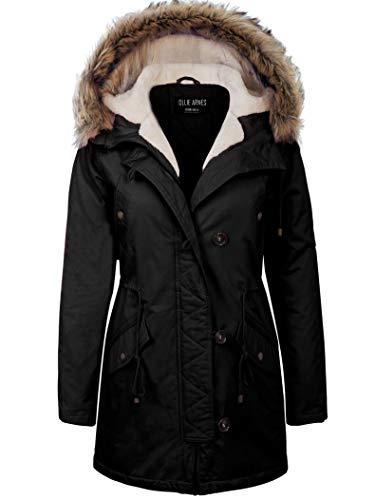 OLLIE ARNES Women's Quilted or Inner Fur Lined Sherpa Anorak Down Parka Jacket ()