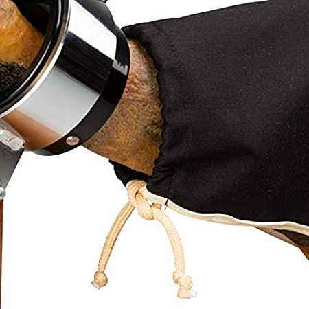 Steelblade - Cubre Jamón Color Negro con Borde Beige - Algodón 50% - Funda Jamón Extra Largo de 55 cm - Ideal Tanto para Jamones como Paletas