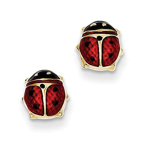 Ring Yellow Ladybug - Lex & Lu 14k Yellow Gold Enameled Ladybug Earrings LAL77245-Prime