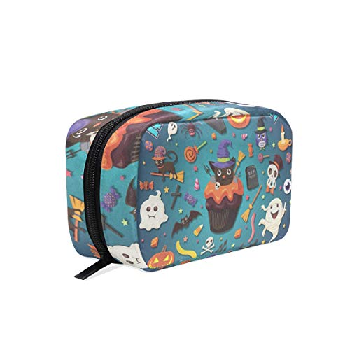 Toiletry Bag Vintage Halloween With Cupcake Womens Beauty Makeup Case Brush Cosmetic Organizer