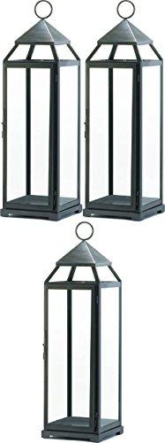 "[3 Large 24"" Tall Malta Silver Candle Lantern Holder Light Outdoor Terrace Patio] (Terrace 3 Light Pendant)"