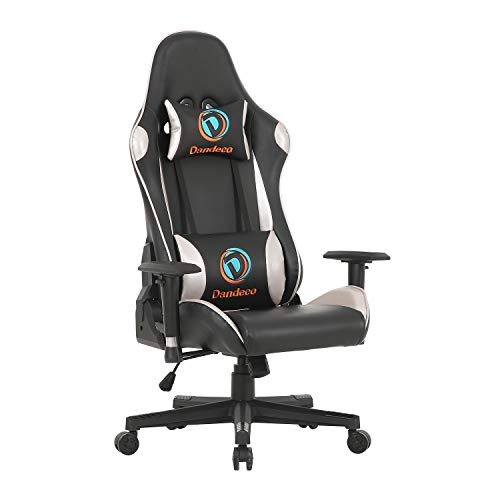 LCH Racing Style Computer Gaming Chair High-Back Adjustable Height PU Leather Executive Office Chair Ergonomic Surrounding Seat with Headrest and Lumbar Support, Silver