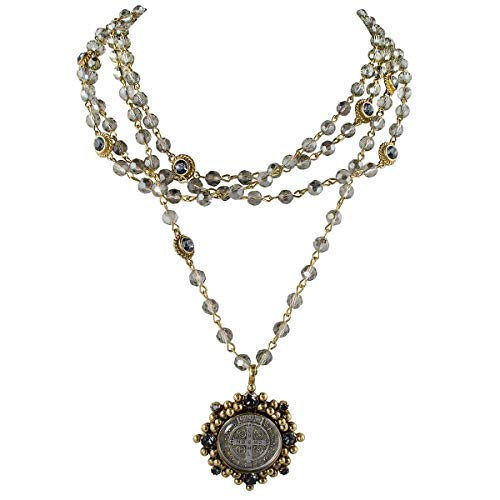 San Benito Cloister 6mm Magdalena Necklace - Gold, Black Diamond - VSA - Virgins Saints Angels
