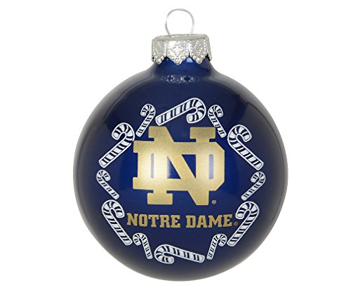 """NCAA Candy Cane Traditional Glass Ball Christmas Ornament- 2 5/8""""-Notre Dame Fighting Irish-Navy"""