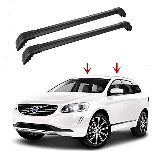 (MotorFansClub Top Roof Rack Cross Bar Crossbar Rail Cargo Luggage for Volvo XC60 2013-2018 Black )