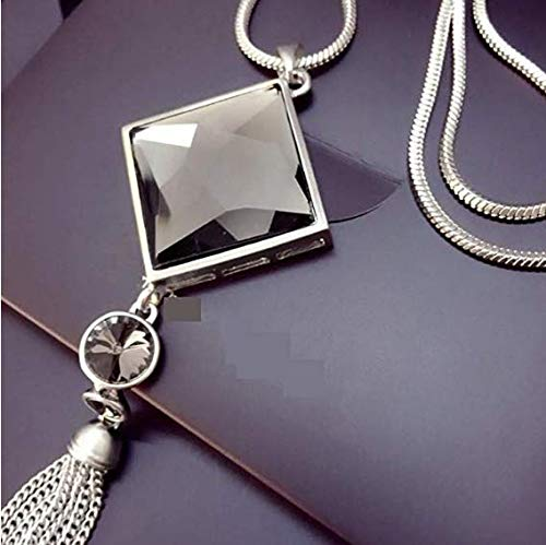 ULAKY Square Glass Pendant Long Tassel Necklace Women Fashion Jewelry