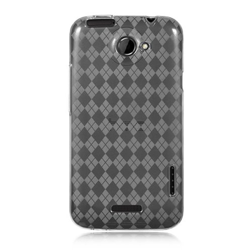 CoverON Clear TPU Soft Cover Case with Checkered Design for HTC ONE X/ONE XL ATT/Elite [WCB451]