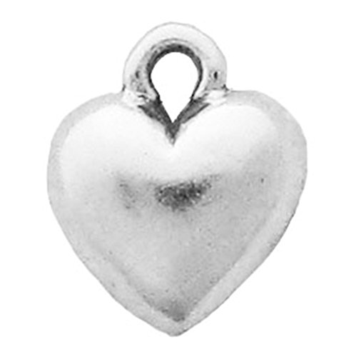 925 Sterling Silver Classic Sweet Dome Puffed Heart Charm For Bracelet/Necklace