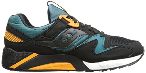 Sneaker Saucony Grid 9000 en gamuza y tejido negro y azul turquesa Negro