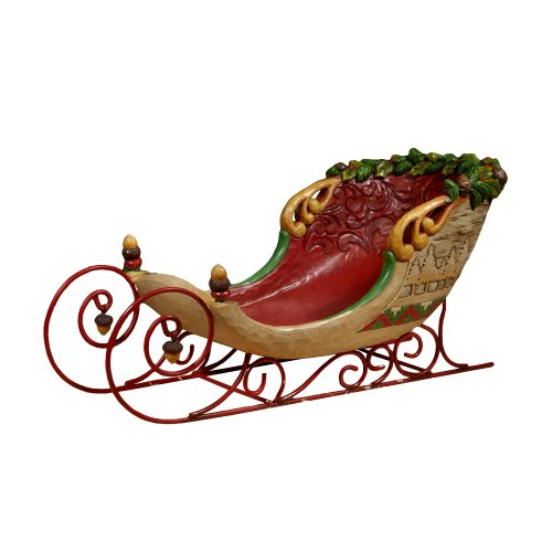 Jim Shore Heartwood Creek from Enesco Lodge Sleigh Figurine 7.5 IN (Small Sleigh)