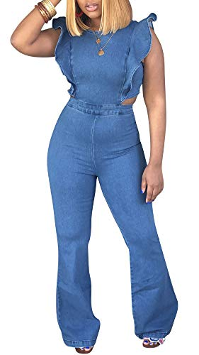 (LROSEY Womens Casual Backless Sleeveless Denim Jumpsuits Plain Flared Bell Bottoms Jeans Rompers with Zipper Plus Size Club)
